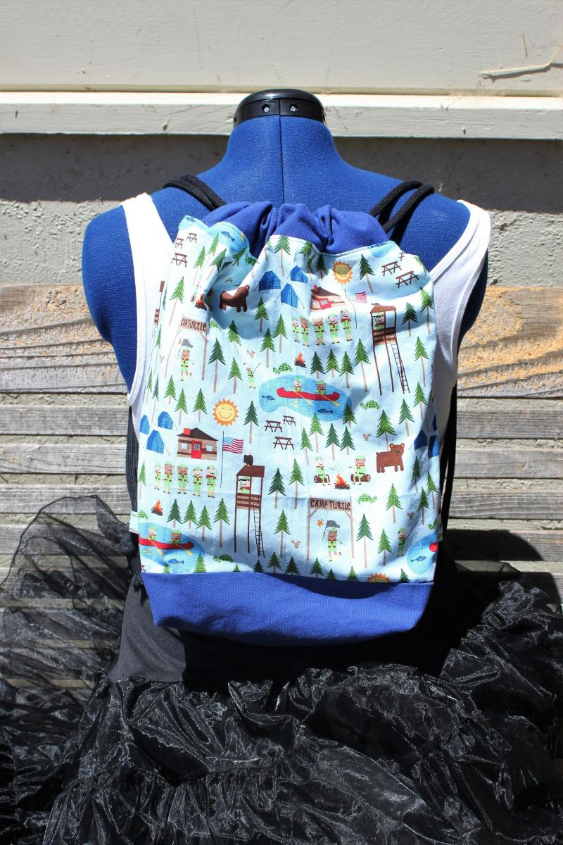 Canvas lined and bottom for durability Camp Turtle Boy Scout Camp Drawstring backpack a fun accessory for any outfit inside pocket