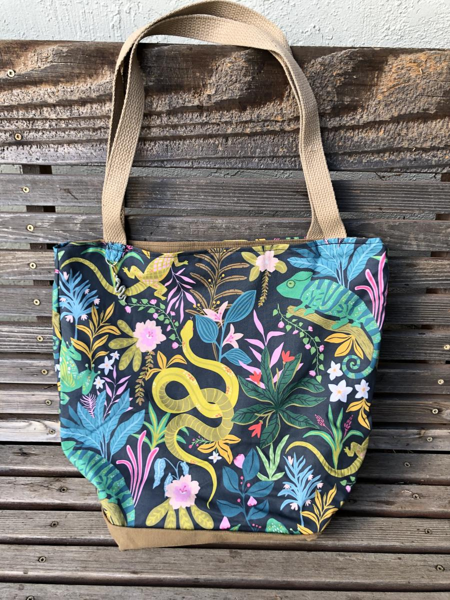 Frogs!! Great for groceries diapers or overnight bag Canvas lined and  bottom tote fabric tote bag books lunch shopping