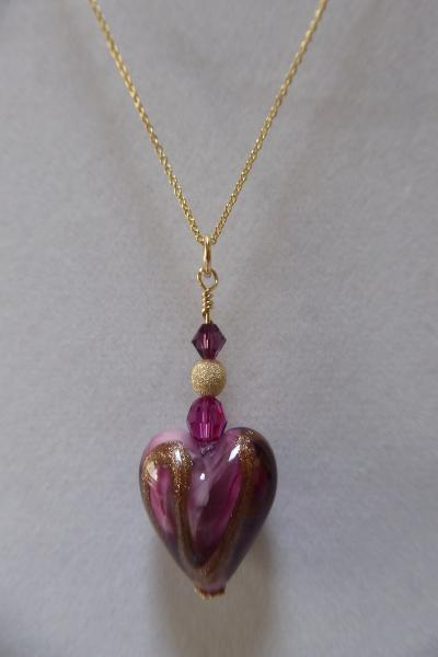 Venetian Glass Pink and Gold Swirl Heart