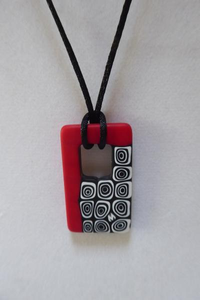 Black, Red, and White Venetian Glass Rectangle Pendant