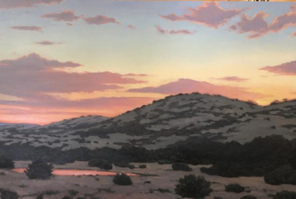 "Sunset Over the Watering Hole 36""w x 24""h"