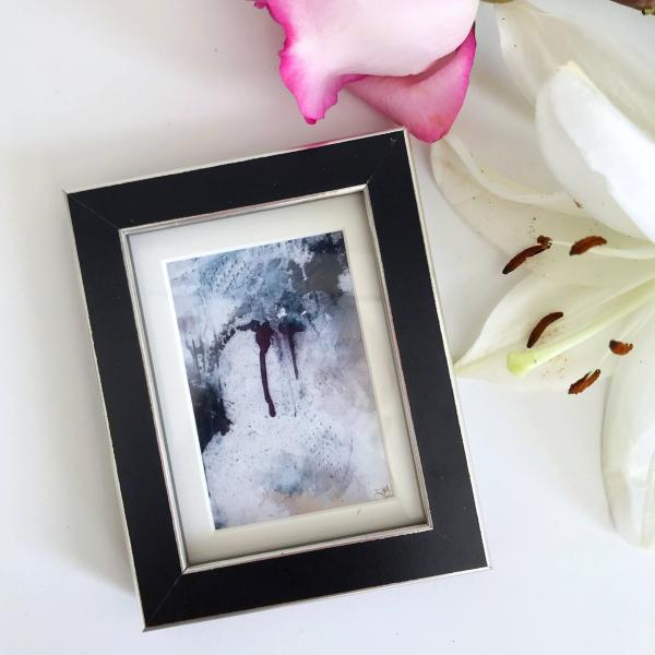 Amethyst Healing Original Abstract Print in Black & Silver Mini Frame picture