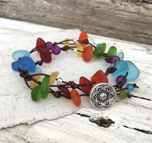 Leather Rainbow Sea Glass Wrap Bracelet