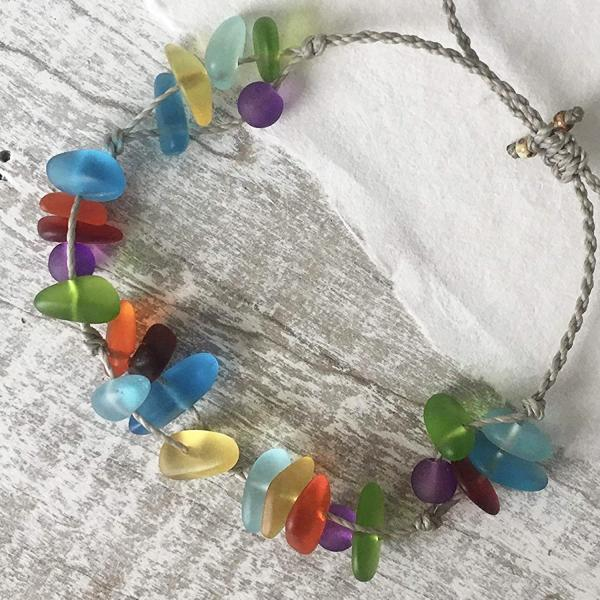 Sea Glass Rainbow Bracelet or Anklet