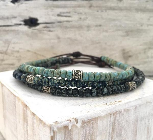 Seed Bead Leather Bracelet