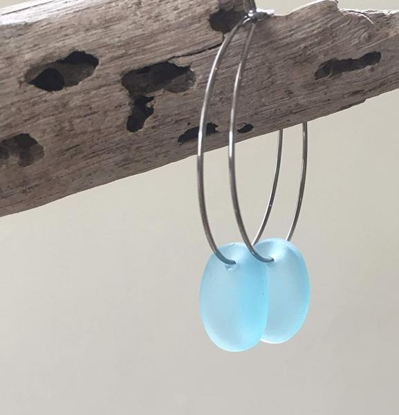 Aqua Blue Sea Glass Drop Hoop Earrings