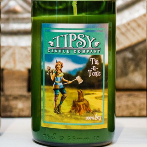 Tin-N-Tonic | Soy Wine Bottle Candle