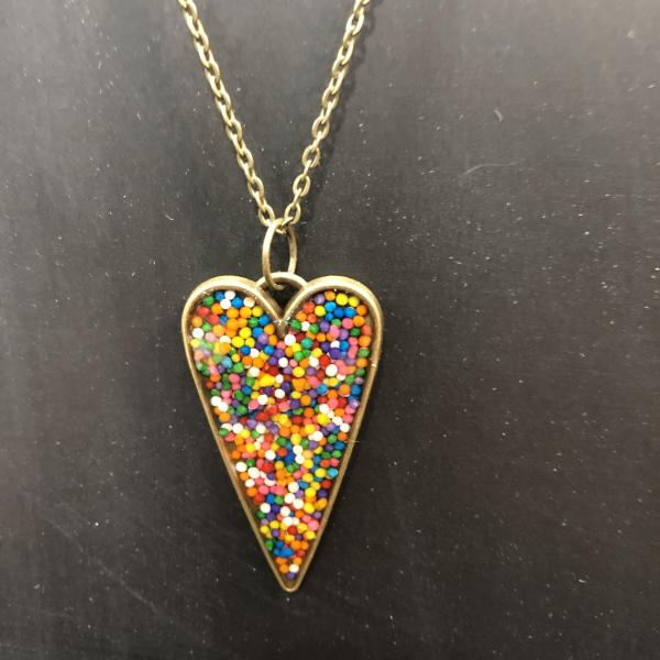 Rainbow Sprinkle Heart Vintage Bronze