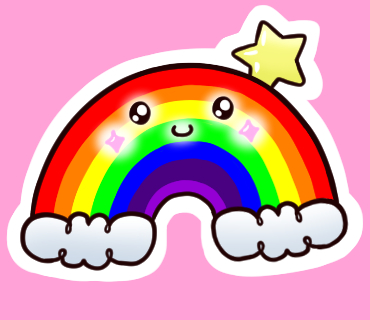 Glossy Rainbow Sticker 1.5 Inches