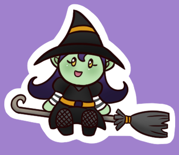 Glossy Witch Sticker 1.5 Inches