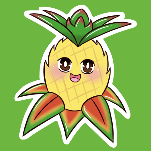 Glossy Pineapple Sticker 1.5 Inches