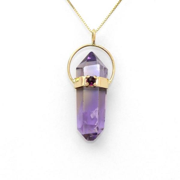 Natural Amethyst Handmade Pendant In 14K Solid Gold picture