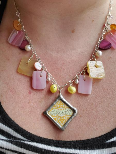 """Discover"" Reversible Pendant Glass Necklace"
