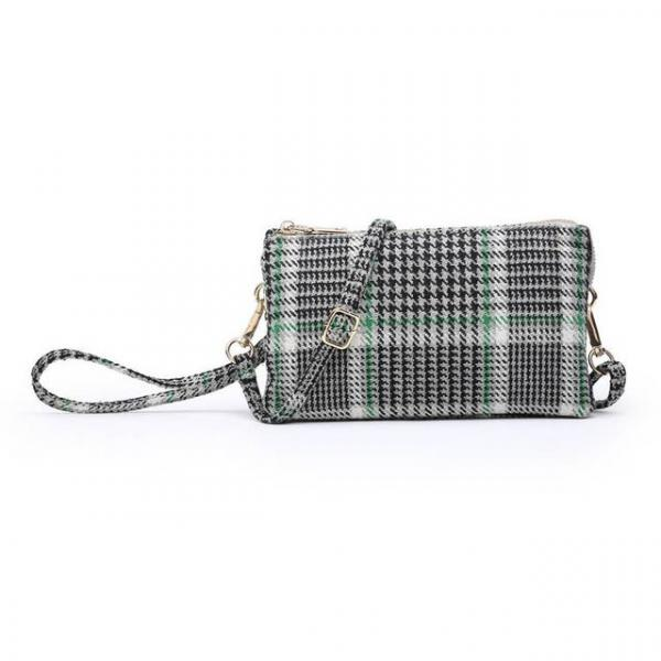 Plaid Wristlet Crossbody - Green/Grey Multi picture