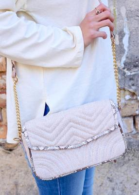 Crossbody With Chain Strap Tweed Blush