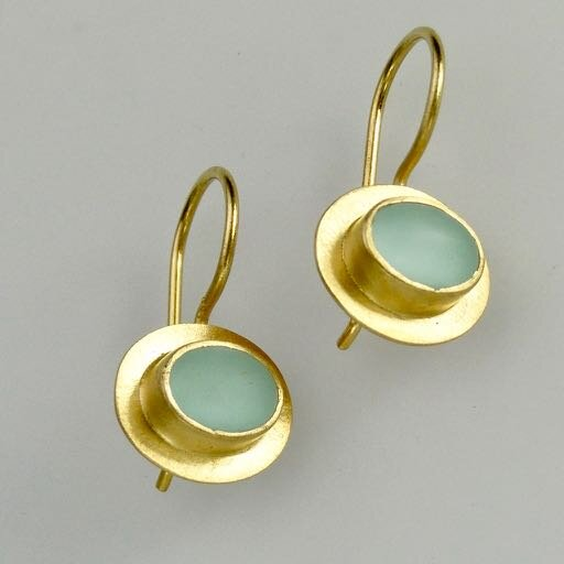 Bella Earrings in SeaFoam and Gold picture