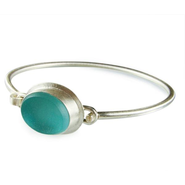 Vintage Aqua Glass and Silver Bangle