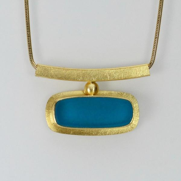 Horizon Necklace in Cyan and Gold