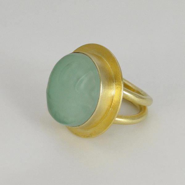 Round Double Band Ring in SeaFoam + Gold