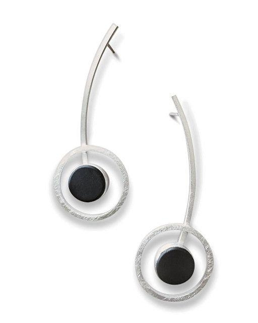 Orphist Earrings in Silver and Black