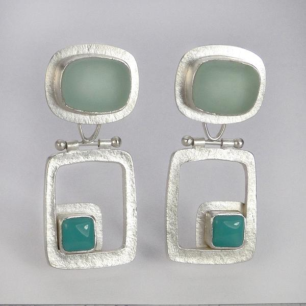 Modern HInged Earrings in Coke Bottle and Turquoise Glass