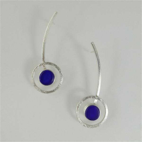 Orphist Earrings in Silver and Cobalt