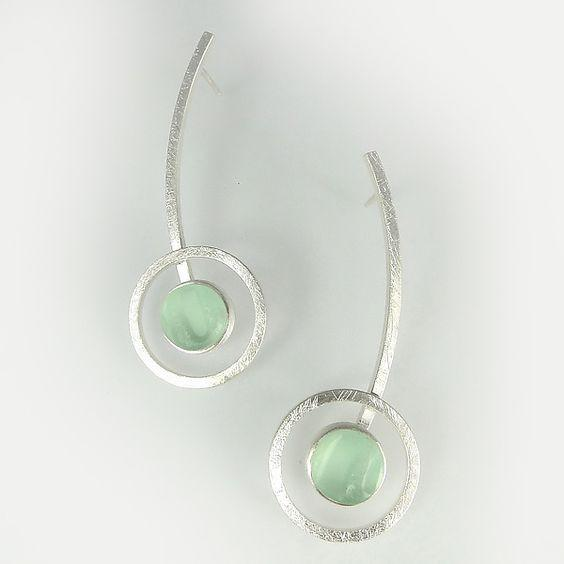 Orphist Earrings in Silver and Light Green