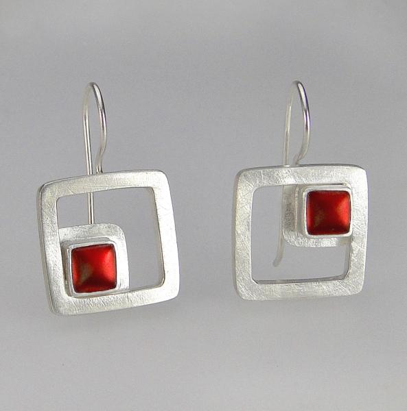 Modern Square Earrings in Cranberry
