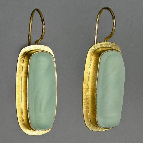 Long Rectangle Earrings in Gold Vermeil