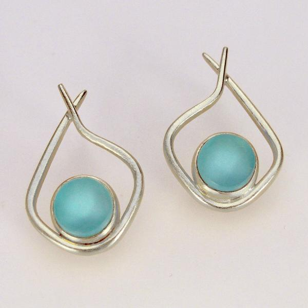 Modern Hoops in Aqua and Silver