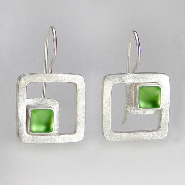 Modern Square Earrings in Light Green