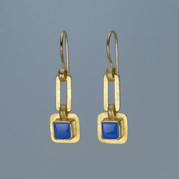 Linked Square Earrings in Gold and Cornflower Blue
