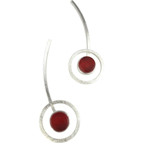 Orphist Earrings in Silver and Red