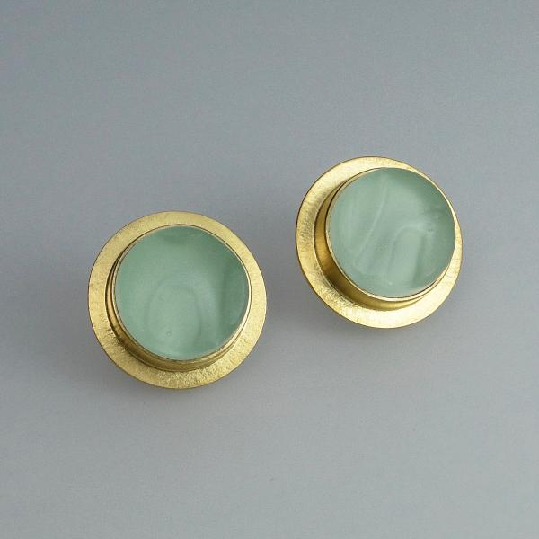 Sea Foam Green Glass Button Earrings