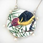 (Sold)Western Tanager with Pearls Necklace