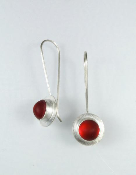 Raindrop Earrings in Silver and Red picture
