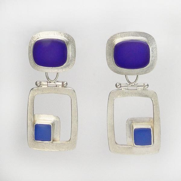 Modern Hinged Earrings in Cobalt and Periwinkle