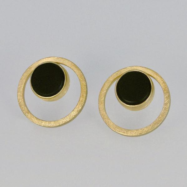 Orbital Earrings in Gold with Black