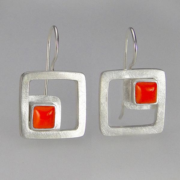 Modern Square Earrings in Coral