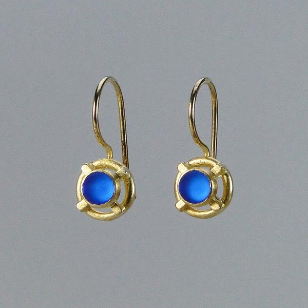 Small XO Earrings in Blue Glass with Gold