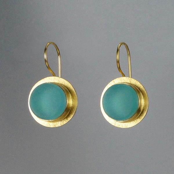 Classica Earrings in Aqua and Gold