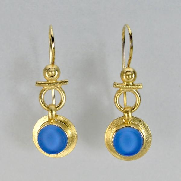 Egyptian Round Earrings in Vintage Blue Bottle Glass