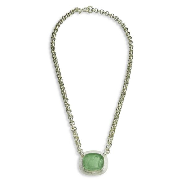 The Original Beach Glass Necklace in Coke Bottle Green