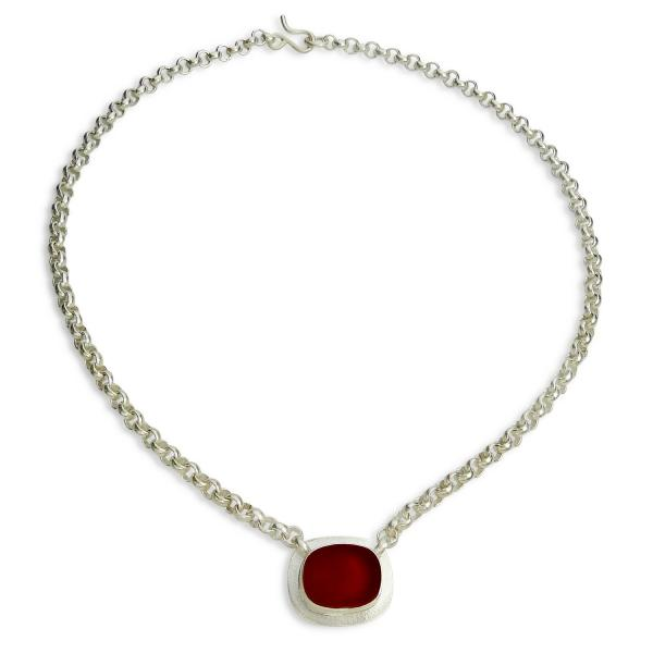 The Original Beach Glass Necklace in Red