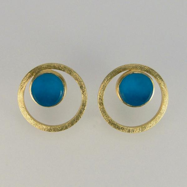 Orbital Earrings in Gold with Sapphire Glass