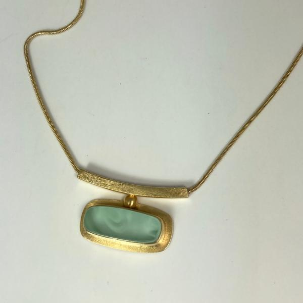Horizon Necklace in Sea Green and Gold