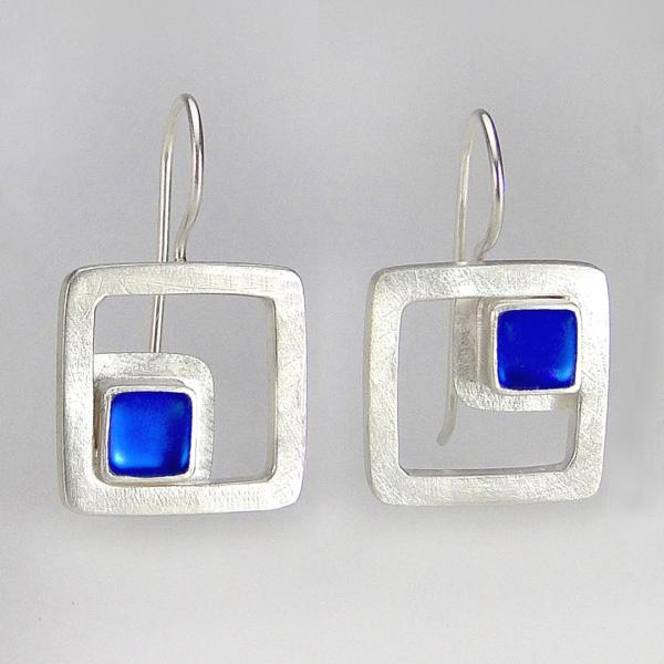 Modern Square Earrings in Sapphire