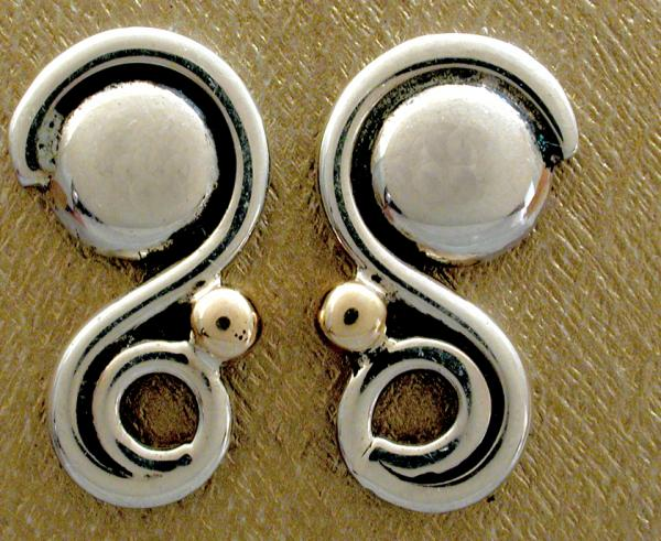 Post Earrings with Domes and spirals