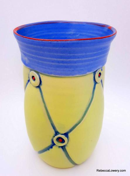 Yellow and Blue Button Vase
