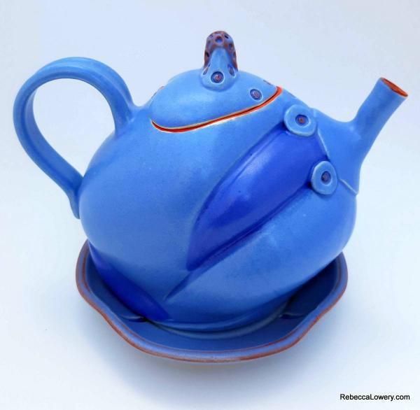 Periwinkle Blue Teapot with Saucer